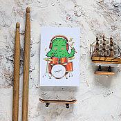 Открытки ручной работы. Ярмарка Мастеров - ручная работа Открытка с кактусом - барабанщик. Handmade.