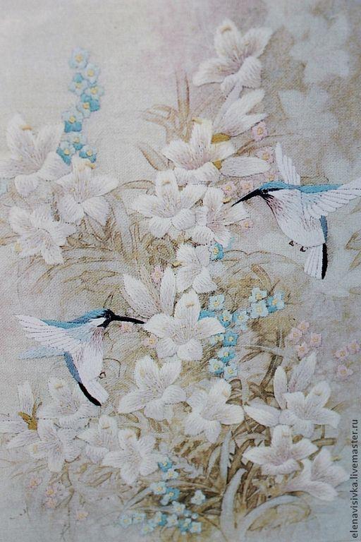 Картины цветов ручной работы. Ярмарка Мастеров - ручная работа. Купить Вышитая картина Птицы в белых лилиях. Handmade.
