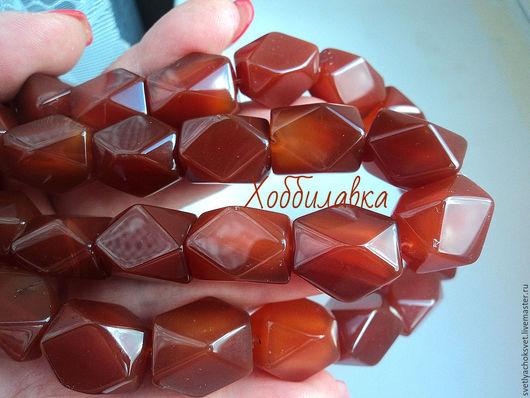 Сардоникс крупные бусины с огранкой. Яркий насыщенный цвет, великолепное качество обработки  камня , один к одному!! Размер 12x 17 мм и  15x 20 мм