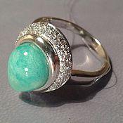 ослепительно-голубой амазонит в кольце