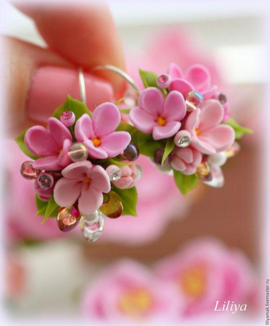 """Серьги ручной работы. Ярмарка Мастеров - ручная работа. Купить Серьги """"Floral love"""". Handmade. Бледно-розовый, цветочное украшение"""