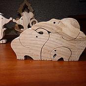 """Пазлы, головоломки ручной работы. Ярмарка Мастеров - ручная работа Пазлы, головоломки: Пазл """"Семья слонов"""". Handmade."""