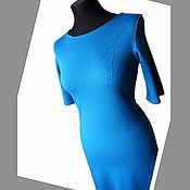 Одежда ручной работы. Ярмарка Мастеров - ручная работа Платье из джерси casual - голубое. Handmade.