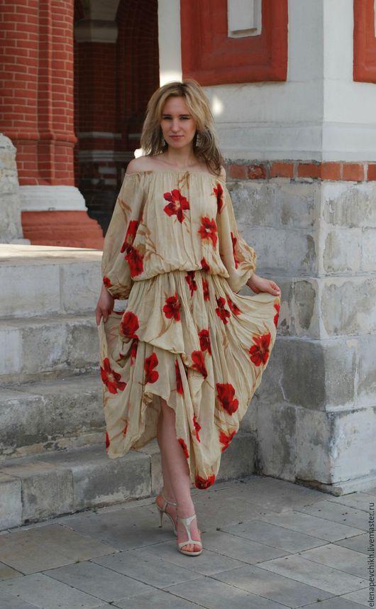Платья ручной работы. Ярмарка Мастеров - ручная работа. Купить Воздушное шифоновое платье. Handmade. Шифон, платье с цветами, шифон