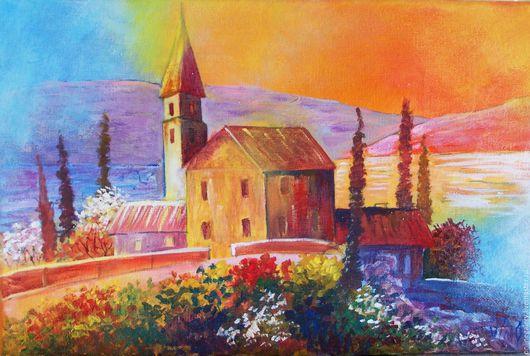 """Пейзаж ручной работы. Ярмарка Мастеров - ручная работа. Купить Картина """"Замок в цветах"""" акрил 20х30см. Handmade. Картина"""