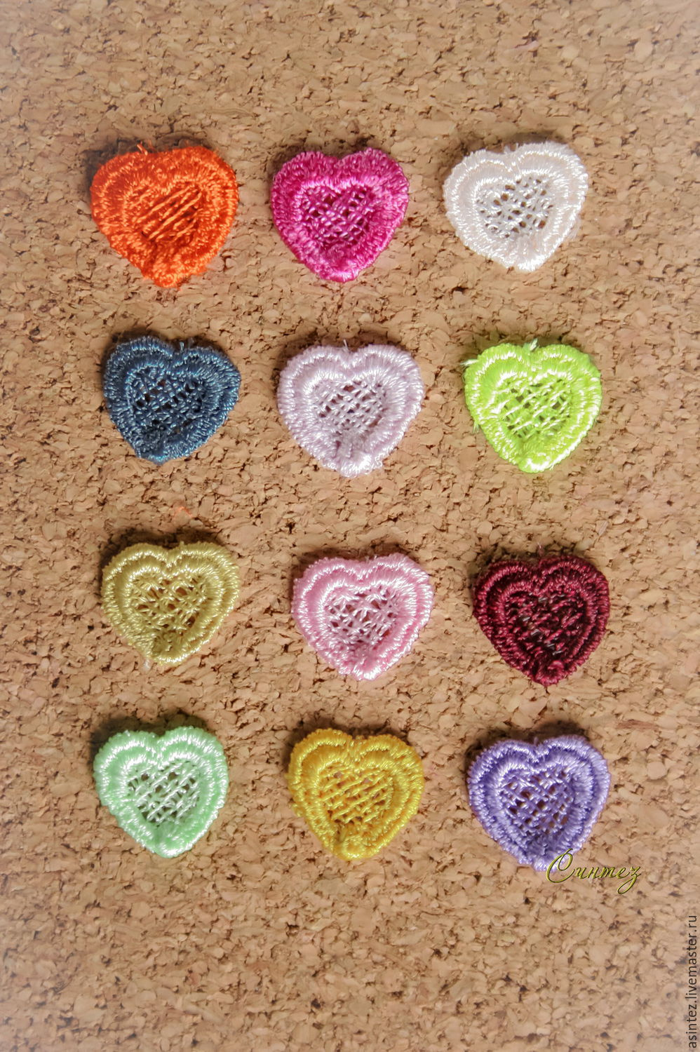 Embroidery applique the Small hearts tiny lace FSL free, Applications, Moscow,  Фото №1