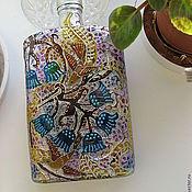 """Посуда ручной работы. Ярмарка Мастеров - ручная работа Бутылка - фляжка """"Цветы и птицы"""". Handmade."""