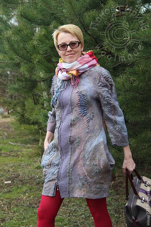 """Верхняя одежда ручной работы. Ярмарка Мастеров - ручная работа. Купить пальто """"Smog"""". Handmade. Серый, пальто валяное"""