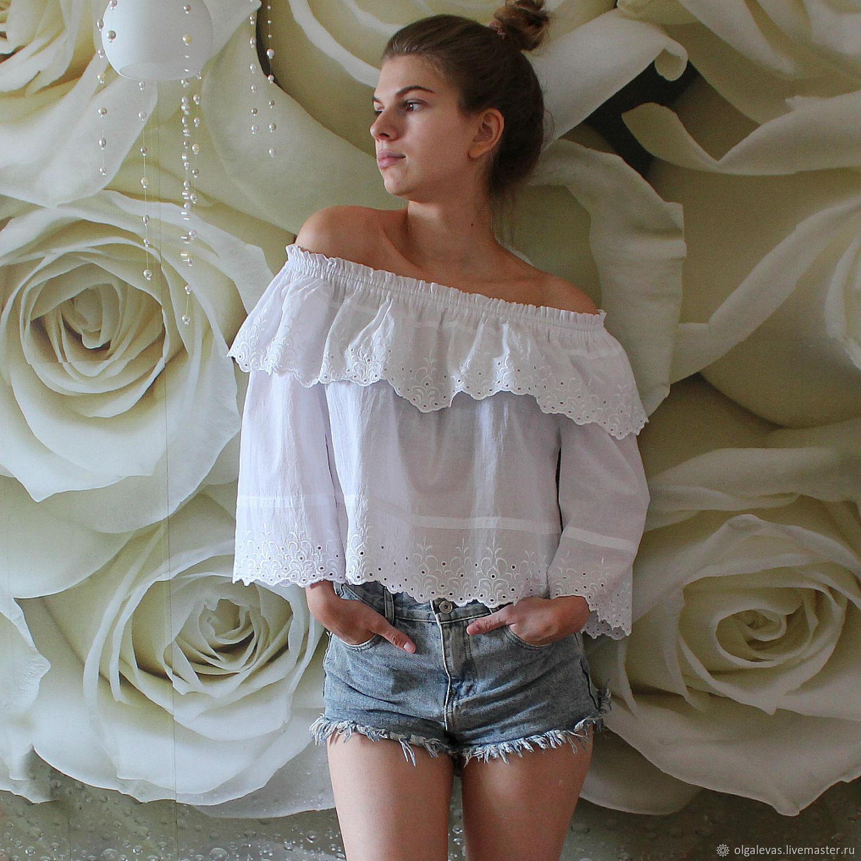 Блузка бохо Белоснежка – заказать на Ярмарке Мастеров – G510ZRU | Блузки, Оренбург