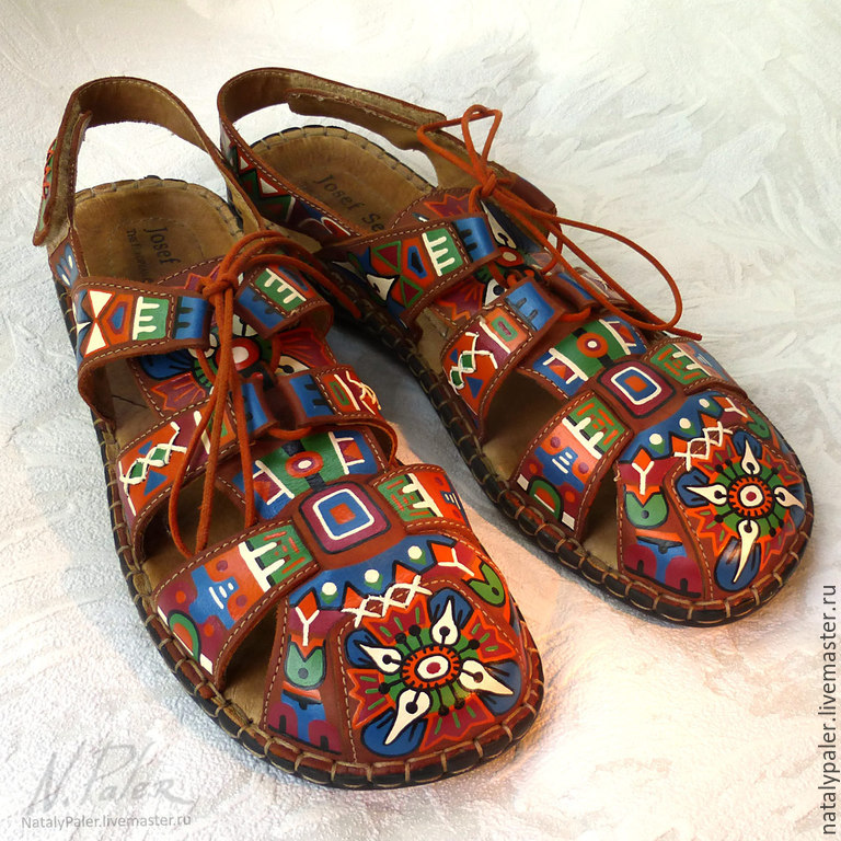 Painting on shoes. Sandals 'Mexico', Slingbacks, Moscow,  Фото №1