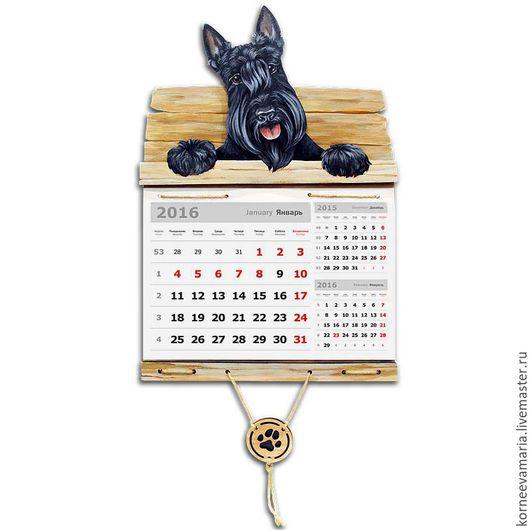 Календари ручной работы. Ярмарка Мастеров - ручная работа. Купить Настенный календарь «Скотч». Handmade. Календарь, собачка, Новый Год