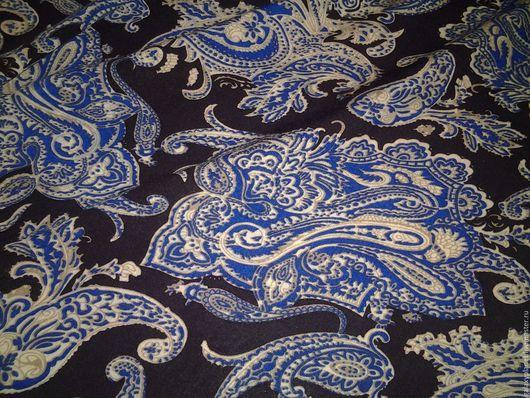 """Шитье ручной работы. Ярмарка Мастеров - ручная работа. Купить Штапель вискозный синий с пейсли цвета электрик """"Услада"""". Handmade."""