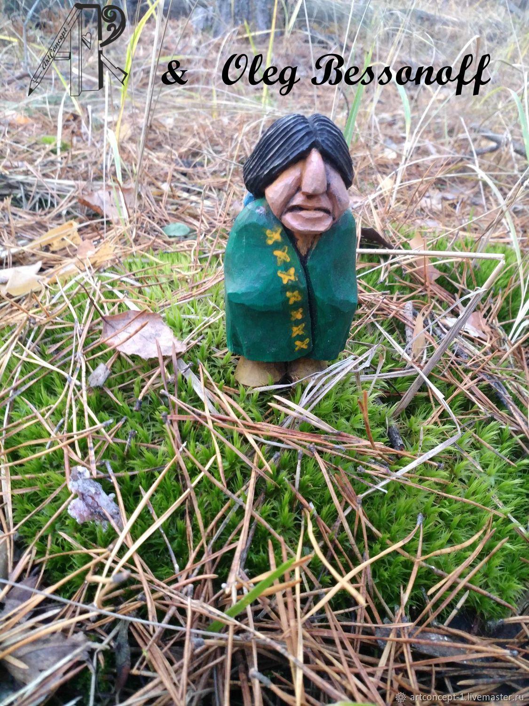 Фигурка миниатюра деревянная резная Индеец. Елочная игрушка из дерева, Мини фигурки и статуэтки, Рязань,  Фото №1