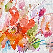 """Открытки ручной работы. Ярмарка Мастеров - ручная работа Акварель  """"Ароматы лета""""  оригинал открытка. Handmade."""