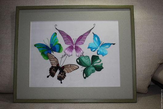 Животные ручной работы. Ярмарка Мастеров - ручная работа. Купить Бабочки. Handmade. Комбинированный, вышивка ручная, Вышитая картина