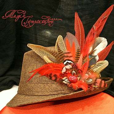 Decorations handmade. Livemaster - original item Bright red-brown feather barrette. Handmade.
