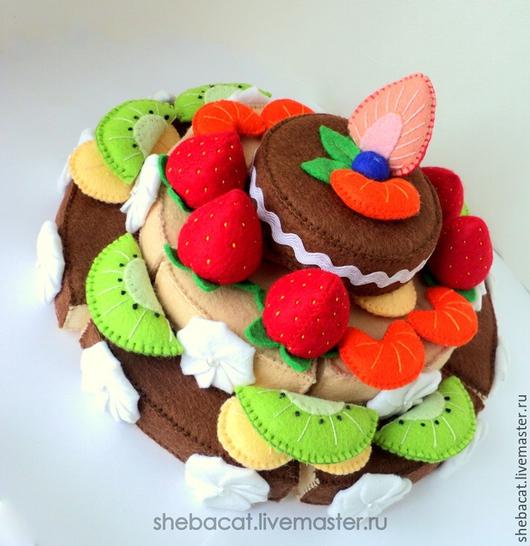 Развивающие игрушки ручной работы. Ярмарка Мастеров - ручная работа. Купить Шоколадный торт (игрушка-конструктор). Handmade. Торт