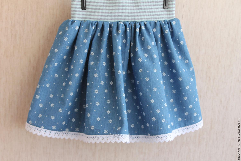 Юбка джинсовая с кружевом для девочки