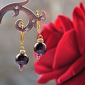 Украшения handmade. Livemaster - original item Small pendant earrings with a garnet by almandine