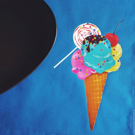 Кухня ручной работы. Ярмарка Мастеров - ручная работа. Купить Icecream. Handmade. Синий, для дома и интерьера, для кухни, текстиль для интерьера