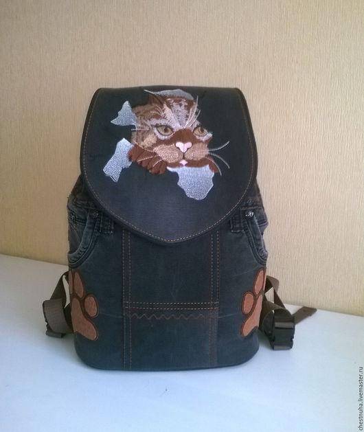 Рюкзаки ручной работы. Ярмарка Мастеров - ручная работа. Купить Рюкзак джинсовый женский КотоВасия. Handmade. Рюкзак, джинсовый рюкзак