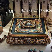 Для дома и интерьера ручной работы. Ярмарка Мастеров - ручная работа шкатулка с зеркалом синяя с золотом. Handmade.