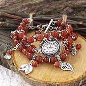 """Украшения ручной работы. Ярмарка Мастеров - ручная работа """"Листопад"""" - часы-браслет (сердолик). Handmade."""