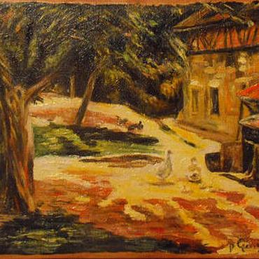 """Картины и панно ручной работы. Ярмарка Мастеров - ручная работа Панно """"Утро в деревне по Гогену"""". Handmade."""