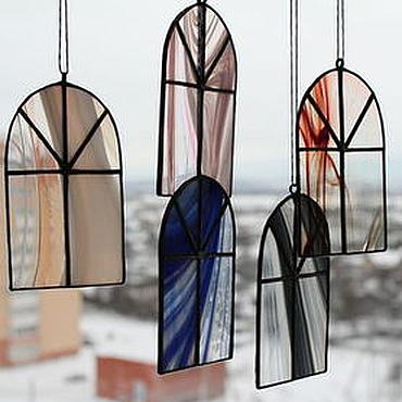 """Для дома и интерьера ручной работы. Ярмарка Мастеров - ручная работа """"Зимние окна"""" Тиффани. Handmade."""