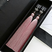 Украшения handmade. Livemaster - original item Earrings brush dusty pink color with bows. Earrings for the summer. Handmade.