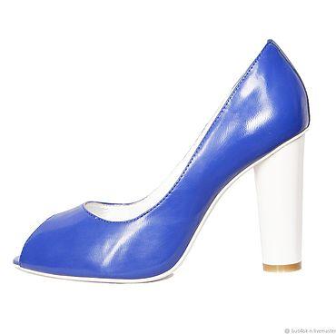 Винтаж ручной работы. Ярмарка Мастеров - ручная работа Винтаж: Синие туфельки с открытым мысом из натуральной кожи. Handmade.