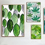Картины и панно handmade. Livemaster - original item Pale green polyptych on 6 canvases. Handmade.