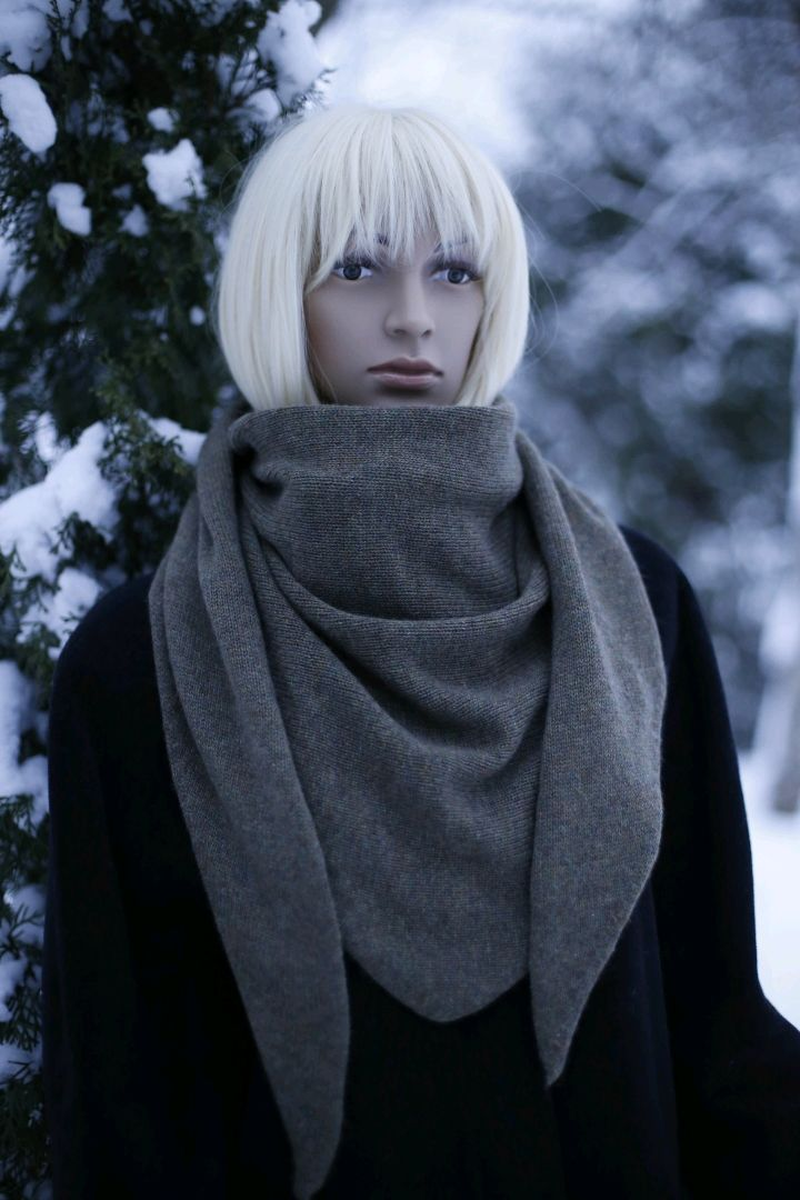 Scarf-Bacchus 'Khaki Heather' made from 100% Cariaggi cashmere, Scarves, St. Petersburg,  Фото №1