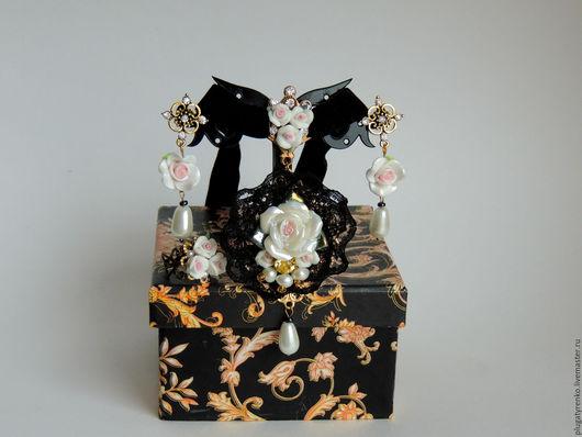 Серьги ручной работы. Ярмарка Мастеров - ручная работа. Купить Серьги и подвеска в стиле Dolce&Gabbana Pearl flowers. Handmade.
