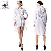 """Одежда ручной работы. Ярмарка Мастеров - ручная работа Платье-рубашка """"Вышитая серебряная спинка"""" трапеция, пояс в комплекте. Handmade."""