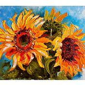 Картины и панно ручной работы. Ярмарка Мастеров - ручная работа картина маслом Цветы солнца. Handmade.