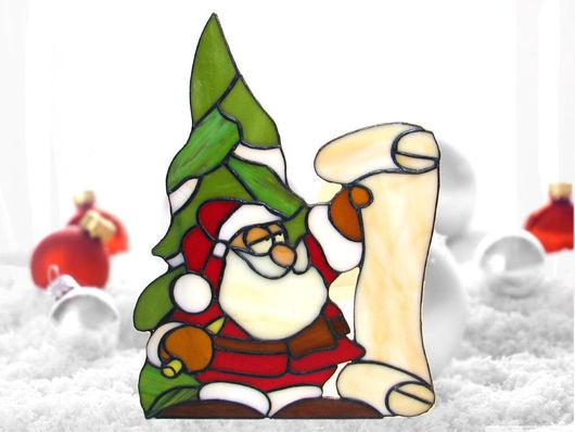 Новый год 2017 ручной работы. Ярмарка Мастеров - ручная работа. Купить Витраж Дедушка Мороз. Handmade. Витраж Тиффани