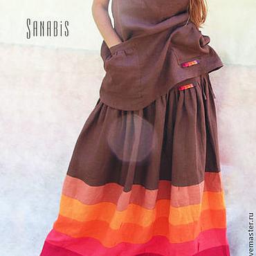 Одежда ручной работы. Ярмарка Мастеров - ручная работа Льняная туника + длинная юбка. Handmade.