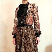 Одежда ручной работы. Ярмарка Мастеров - ручная работа Платье из шифона  с кружевом. Handmade.