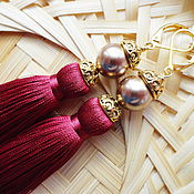 Украшения handmade. Livemaster - original item Earrings brush Wine pearls Swarovski reserve. Handmade.