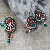 Украшения handmade. Livemaster - original item Set of soutache: earrings and brooch.. Handmade.