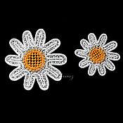 Материалы для творчества handmade. Livemaster - original item Embroidery applique patch of Chamomile in the Russian style flatback. Handmade.