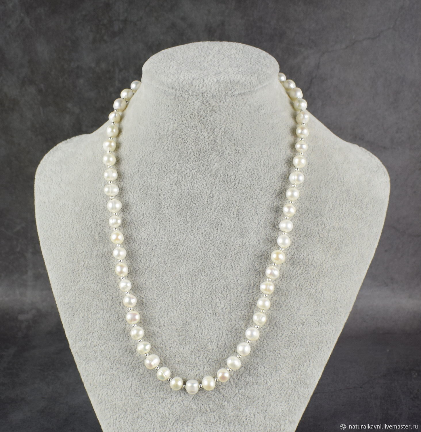 Natural river pearl beads with silver fittings, Beads2, Moscow,  Фото №1