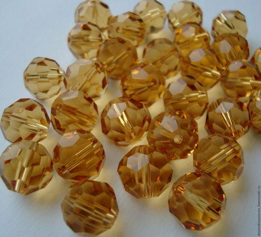 Для украшений ручной работы. Ярмарка Мастеров - ручная работа. Купить Хрустальные бусины для украшений, огранка, золото, 12 мм. Handmade.