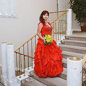 Одежда ручной работы. Ярмарка Мастеров - ручная работа Вечернее красное длинное платье Фантазия. Handmade.