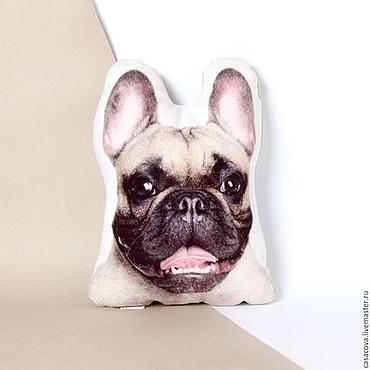 Для дома и интерьера ручной работы. Ярмарка Мастеров - ручная работа Французский бульдог. Декоративная подушка с улыбающимся бульдогом. Handmade.