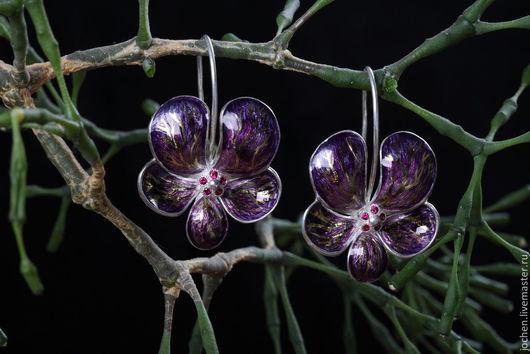 Серьги ручной работы. Ярмарка Мастеров - ручная работа. Купить серьги фиолетовые орхидеи. Handmade. Тёмно-фиолетовый, большие серьги