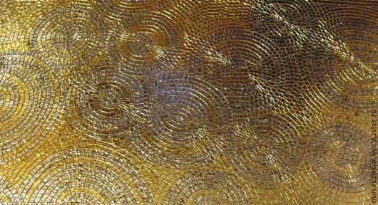 Абстракция ручной работы. Ярмарка Мастеров - ручная работа. Купить Мозаика, декор, золотые круги и спирали. Handmade. Золотой, золото