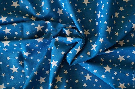 Шитье ручной работы. Ярмарка Мастеров - ручная работа. Купить Хлопок темно-голубые звезды. Handmade. Голубой, звезды
