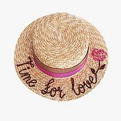 Аксессуары handmade. Livemaster - original item Straw boater hat. Handmade.